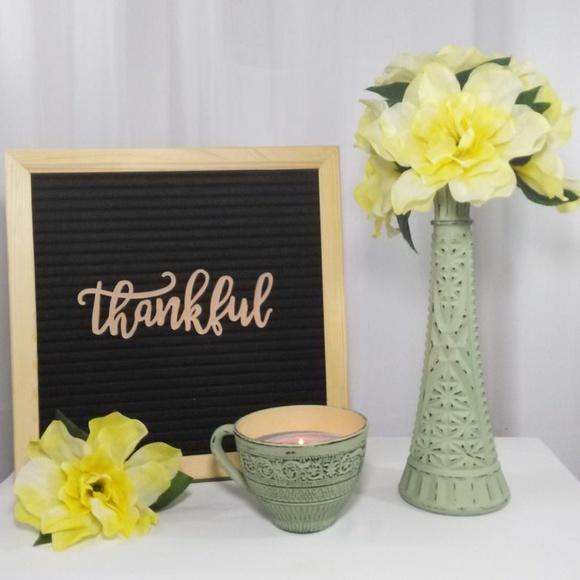 Distressed Light Green Flower Vase / Candle Holder